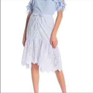 NWT Joie Chantoya Striped Scallop Eyelet Skirt